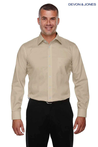 Devon & Jones DG530 Stone Brown Crown Collection Stretch Twill Blend Long Sleeve Button Down Shirt Front
