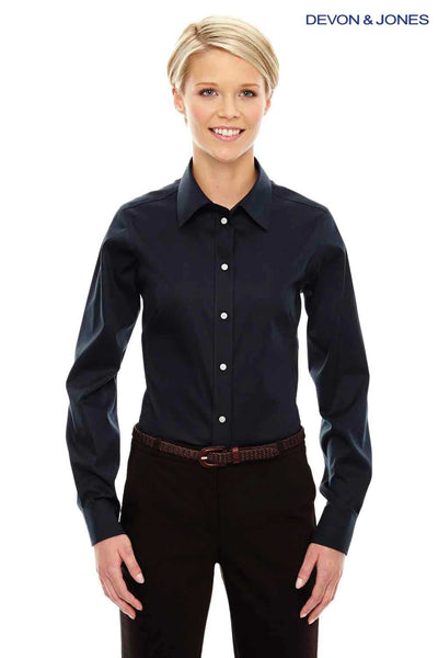 Devon & Jones DG530W Navy Blue Crown Collection Stretch Twill Blend Long Sleeve Button Down Shirt Front