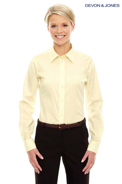 Devon & Jones DG530W Yellow Crown Collection Stretch Twill Blend Long Sleeve Button Down Shirt Front