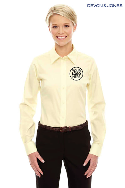 Devon & Jones DG530W Yellow Crown Collection Stretch Twill Blend Long Sleeve Button Down Shirt Logo
