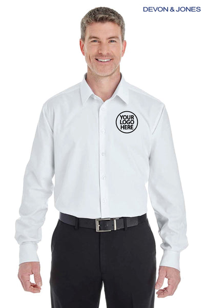 Devon & Jones DG532 White Crown Collection Royal Dobby Blend Long Sleeve Button Down Shirt Logo