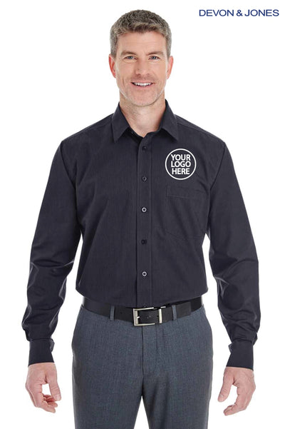 Devon & Jones DG534 Black Crown Collection Blend Striped Long Sleeve Button Down Shirt Logo