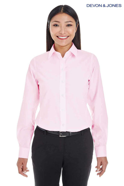 Devon & Jones DG534W Pink Crown Collection Blend Striped Long Sleeve Button Down Shirt Front