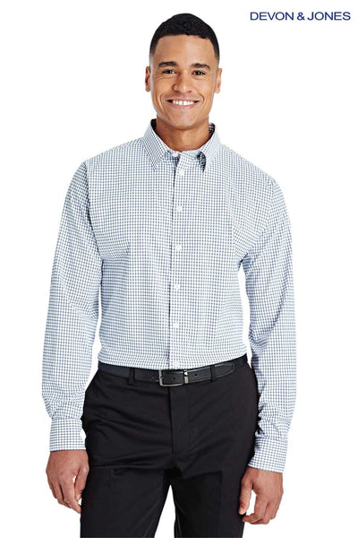 Devon & Jones DG540 Navy Blue/White CrownLux Performance Blend Micro Windowpane Long Sleeve Button Down Shirt Front