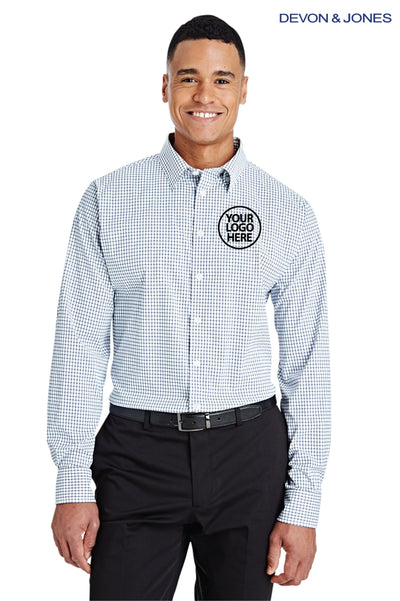Devon & Jones DG540 Navy Blue/White CrownLux Performance Blend Micro Windowpane Long Sleeve Button Down Shirt Logo