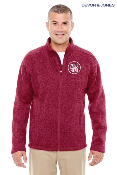 Devon & Jones DG793 Red Bristol Sweater Fleece Sweatshirt Embroidery