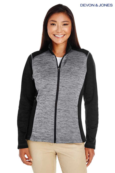 Devon & Jones DG796W Grey/Black Newbury Colorblock Melange Fleece Sweatshirt Front