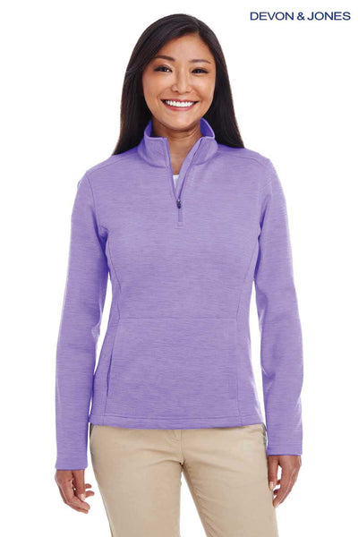 Devon & Jones DG798W Purple Newbury Melange Fleece Sweatshirt Front