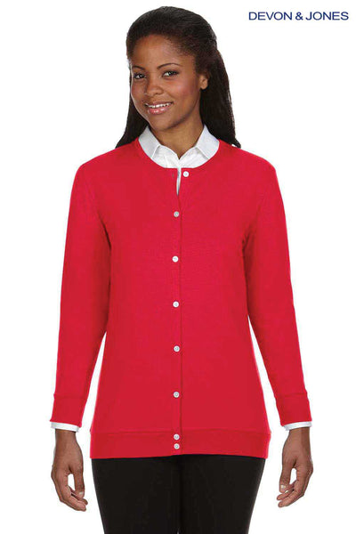 Devon & Jones DP181W Red Perfect Fit Triblend Ribbon Long Sleeve Cardigan Sweater Front