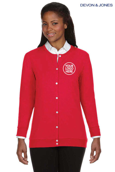 Devon & Jones DP181W Red Perfect Fit Triblend Ribbon Long Sleeve Cardigan Sweater Embroidery