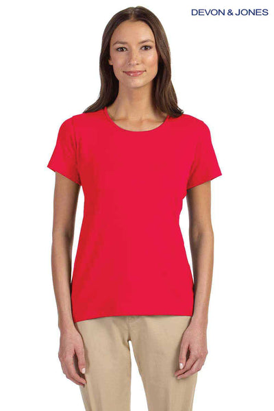 Devon & Jones DP182W Red Perfect Fit Triblend Short Sleeve Crewneck T-Shirt Front