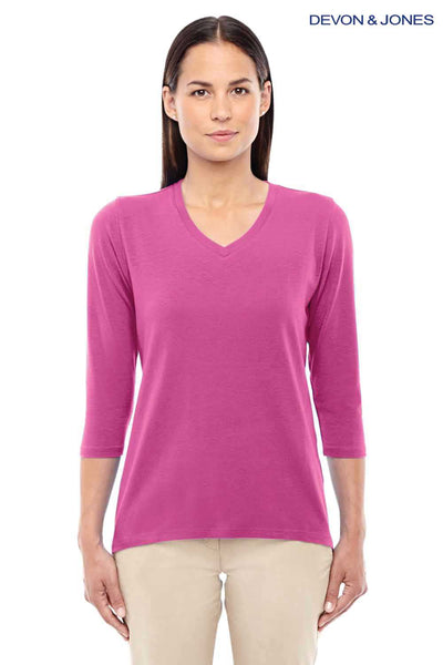 Devon & Jones DP184W Charity Pink Perfect Fit Triblend 3/4 Sleeve V-Neck T-Shirt Front
