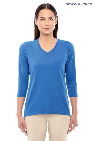 Devon & Jones DP184W French Blue Perfect Fit Triblend 3/4 Sleeve V-Neck T-Shirt Front