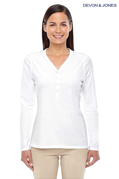 Devon & Jones DP186W White Perfect Fit Triblend Long Sleeve T-Shirt Front