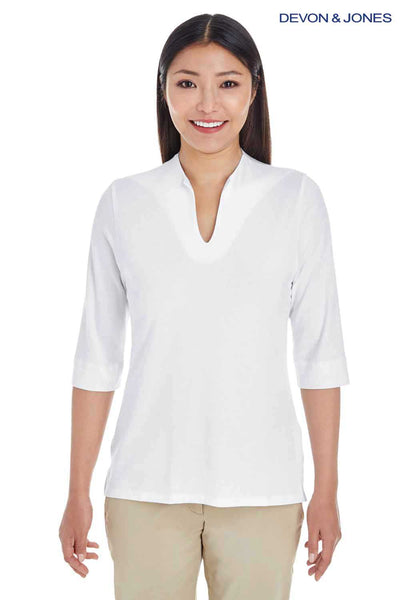 Devon & Jones DP188W White Perfect Fit Tailored Triblend 3/4 Sleeve Polo Shirt Front