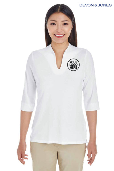 Devon & Jones DP188W White Perfect Fit Tailored Triblend 3/4 Sleeve Polo Shirt Logo