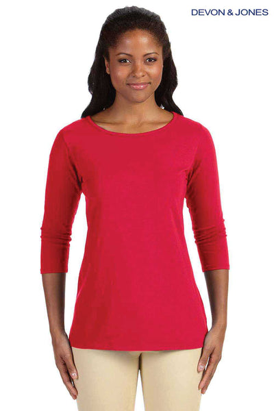 Devon & Jones DP192W Red Perfect Fit Triblend 3/4 Sleeve T-Shirt Front