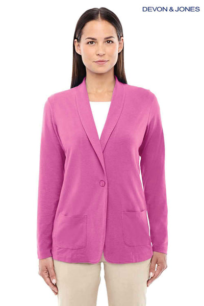 Devon & Jones DP462W Charity Pink Perfect Fit Triblend Shawl Collar Long Sleeve Cardigan Sweater Front
