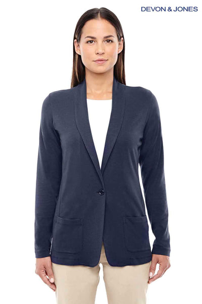 Devon & Jones DP462W Navy Blue Perfect Fit Triblend Shawl Collar Long Sleeve Cardigan Sweater Front