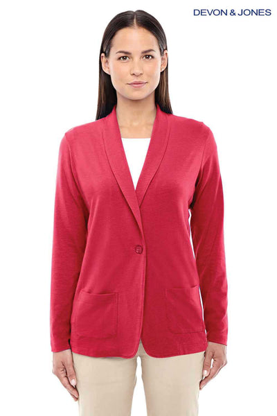Devon & Jones DP462W Red Perfect Fit Triblend Shawl Collar Long Sleeve Cardigan Sweater Front