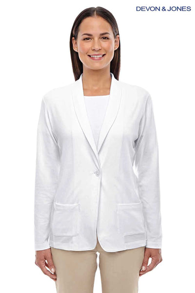 Devon & Jones DP462W White Perfect Fit Triblend Shawl Collar Long Sleeve Cardigan Sweater Front