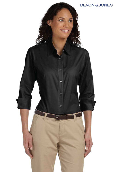 Devon & Jones DP625W Black Perfect Fit Stretch Poplin Blend 3/4 Sleeve Button Down Shirt Front