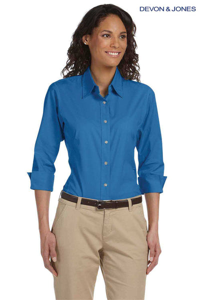 Devon & Jones DP625W French Blue Perfect Fit Stretch Poplin Blend 3/4 Sleeve Button Down Shirt Front