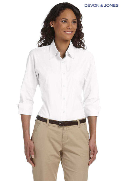 Devon & Jones DP625W White Perfect Fit Stretch Poplin Blend 3/4 Sleeve Button Down Shirt Front