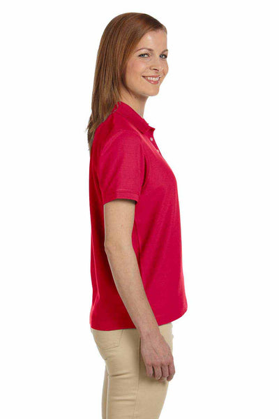 Devon & Jones D112W Red Pima Cotton Pique Short Sleeve Polo Shirt Side