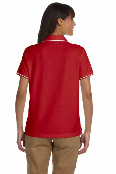Devon & Jones D113W Red Pima Cotton Pique Tipped Short Sleeve Polo Shirt Back