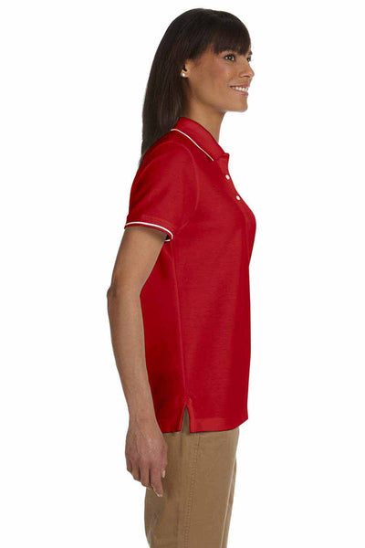 Devon & Jones D113W Red Pima Cotton Pique Tipped Short Sleeve Polo Shirt Side