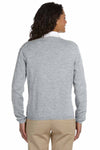 Devon & Jones D475W Heather Grey Cotton Long Sleeve V-Neck Sweater Back