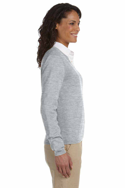 Devon & Jones D475W Heather Grey Cotton Long Sleeve V-Neck Sweater Side