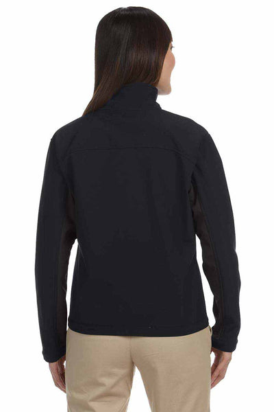 Devon & Jones D997W Black/Dark Grey Polyester Colorblock Soft Shell Jacket Back