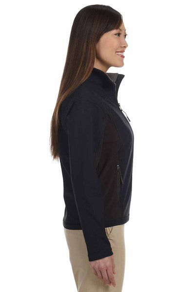 Devon & Jones D997W Black/Dark Grey Polyester Colorblock Soft Shell Jacket Side