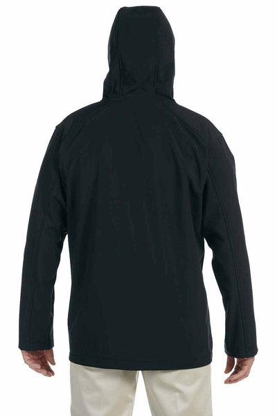 Devon & Jones D998 Black Polyester Soft Shell Hooded Jacket Back
