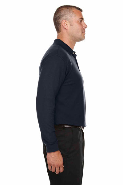Devon & Jones DG170 Navy Blue DryTec20 Performance Cotton Long Sleeve Polo Shirt Side