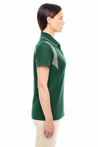 Devon & Jones DG180W Forest Green/Grey DryTec20 Performance Cotton Colorblock Short Sleeve Polo Shirt Side