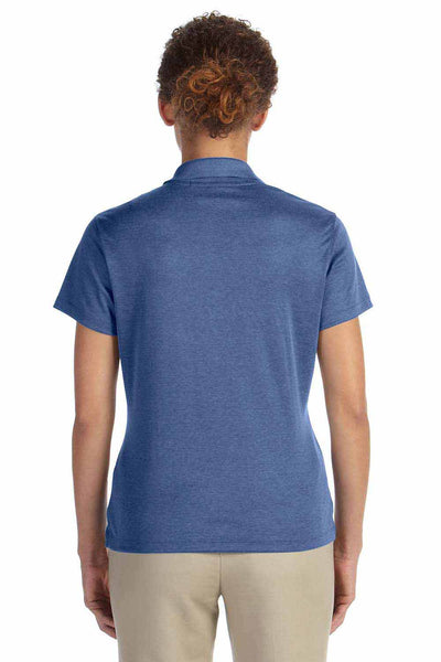 Devon & Jones DG210W Heather French Blue Pima Tech Jet Pique Blend Short Sleeve Polo Shirt Back