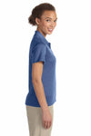 Devon & Jones DG210W Heather French Blue Pima Tech Jet Pique Blend Short Sleeve Polo Shirt Side