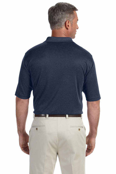 Devon & Jones DG210 Heather Navy Blue Pima Tech Jet Pique Blend Short Sleeve Polo Shirt Back