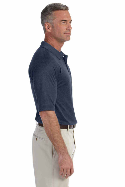 Devon & Jones DG210 Heather Navy Blue Pima Tech Jet Pique Blend Short Sleeve Polo Shirt Side