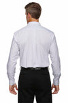 Devon & Jones DG510 White/Navy Blue/Crystal Crown Collection Micro Tattersall Blend Long Sleeve Button Down Shirt Back