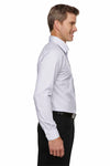 Devon & Jones DG510 White/Navy Blue/Crystal Crown Collection Micro Tattersall Blend Long Sleeve Button Down Shirt Side