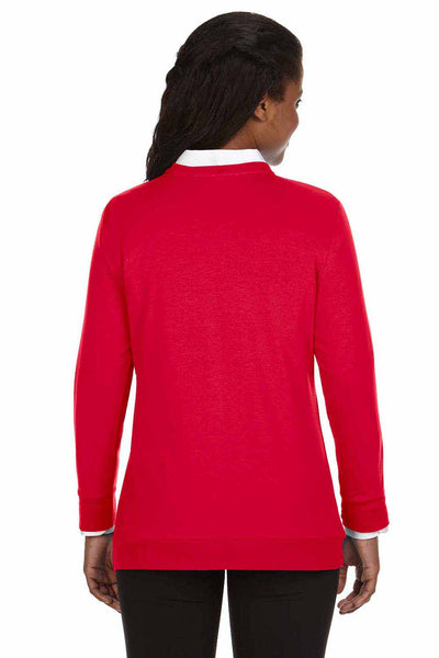 Devon & Jones DP181W Red Perfect Fit Triblend Ribbon Long Sleeve Cardigan Sweater Back