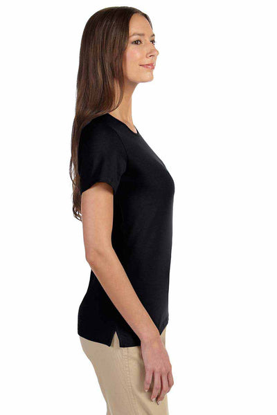 Devon & Jones DP182W Black Perfect Fit Triblend Short Sleeve Crewneck T-Shirt Side