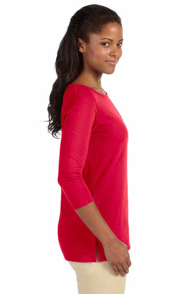 Devon & Jones DP192W Red Perfect Fit Triblend 3/4 Sleeve T-Shirt Side