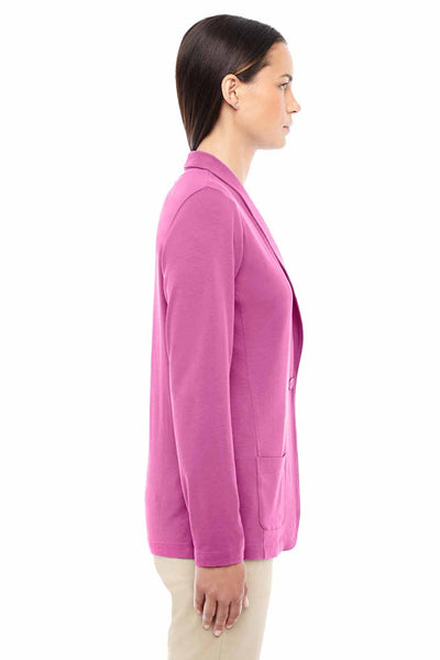 Devon & Jones DP462W Charity Pink Perfect Fit Triblend Shawl Collar Long Sleeve Cardigan Sweater Side