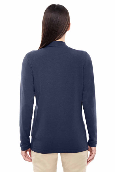 Devon & Jones DP462W Navy Blue Perfect Fit Triblend Shawl Collar Long Sleeve Cardigan Sweater Back