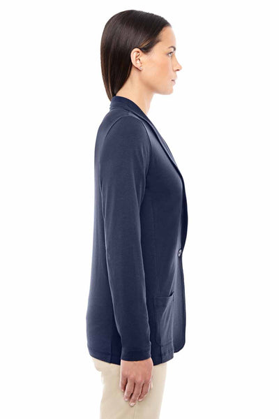 Devon & Jones DP462W Navy Blue Perfect Fit Triblend Shawl Collar Long Sleeve Cardigan Sweater Side